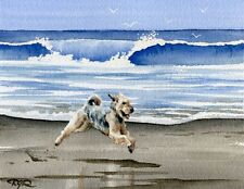 Airedale Terrier Dog Watercolor Art Print by Artist Dj Rogers w/Coa