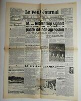 N592 La Une Du Journal Le petit journal 24 août 1939 chrétienté ou barbarie