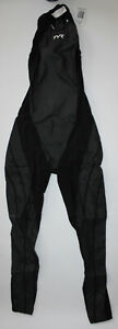 TYR Men's 24 Black Tracer A7 Zipper Back Full Body FINA Triathlon USA Made New