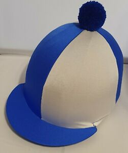 RIDING HAT COVER - ROYAL BLUE & WHITE QUARTERS WITH ROYAL BLUE POMPOM