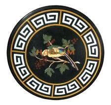 24'' Round Corner Marble Table Top Parrot With Grapes Design Inlaid Decor B274