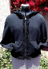 Moschino Cheap and Chic Italy black hoody ruffled front XL 48 warm & too cool