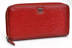 Authentic CHANEL Camellia CC Logo Lamb Skin Wallet Red 98986