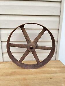 "Vtg antique cast iron factory farm cart wagon barrow dolly spoke wheel 14"""