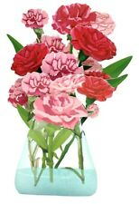 3D Pop Up Greeting Card Ornament Carnation Flower Bouquet, Birthday, Thank You