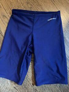 Boys Dolfin Chlorine Resistant Swimsuit Swim Short Jammers Youth Sz 26 Navy Blue