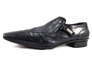 Cesare Paciotti Black Leather Loafers Men's Shoes Size US 9.5 EU 42.5