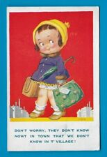 POSTCARD DONALD McGILL COMIC ARTIST SIGNED 94 CHILDREN TOWN SHOPPING RED 1930s