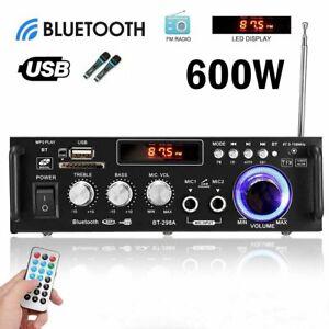 600W bluetooth Stereo Audio Amplifier Car Home HiFi Music USB FM AMP 12V/220V