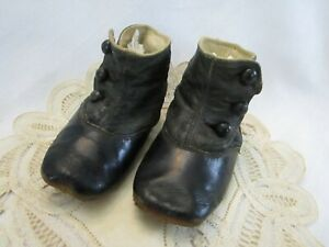 Victorian Antique  Baby Leather High  Top Button Side Shoes