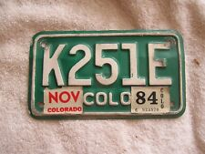 Vintage Colorado Motorcycle  License Plate with 1984 Registration Sticker