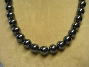 """JOAN RIVERS GOLD EP HAND KNOTTED 12mm BLACK CZECH GLASS BEAD 30"""" NECKLACE NOS"""