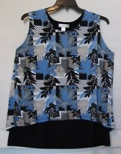CJ Banks Size 1X Easy Wear Sleeveless 2 fer top, tropical print, blue,black NWT