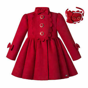 UK Girls Christmas Party Warm Dress Coat Winter Parka With Bows Outwear Red 6 10