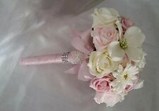 Wedding Bouquet Vintage Pinks Ivory Satin Pearls Lace Gorgeous Handcrafted