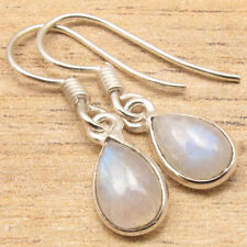 Real Rainbow Moonstone Drop Gems Small Earrings ! 925 Silver Plated Jewelry