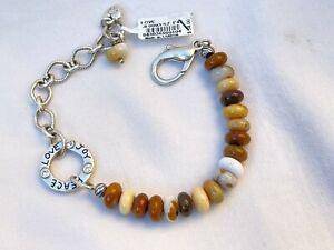 NWT Brighton Love Art & Soul Silver & Natural Jasper Stone Crystal Bracelet
