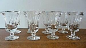 Vintage Set of 8 Fostoria Jamestown Clear Swirl Panel Footed Ice Tea Goblets