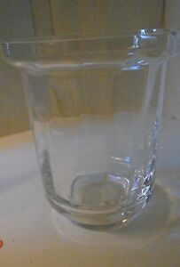 Wedgwood Glass Ribbed Cylinder Clear Glass Vase Large