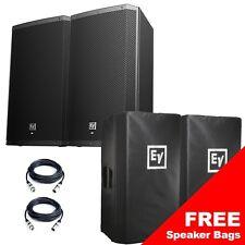 "Electro-Voice EV ZLX15P 15"" 1000W Active Powered PA Speaker Pair + XLR Cables"