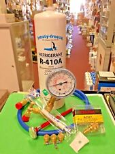 R410, Refrigerant Recharge Kit, One 28 oz, Gauge, Hose, Thermometer & MALCO Tool