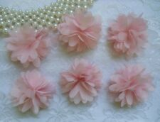 "2"" (W) 3D Rose Pink Chiffon Flowers Appliques. Wedding -6 Pcs-SA130K"