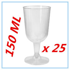 25 PK DISPOSABLE PARTY PLASTIC CLEAR WINE GLASS CUPS ALL Occasions FUNCTIONS FW