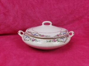 VINTAGE Antique ROSES  Pattern Covered Dish Tureen TST Iona China Taylor Smith T