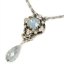 NEW SWEET ROMANCE VICTORIAN STYLE SQUARE & TEARDROP CRYSTAL NECKLACE  ST/ BLUE