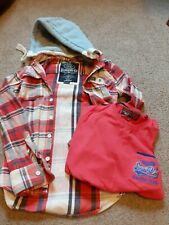 Men's Superdry Jacket Shirt Hoody. Size M. Red Blue Grey Cream