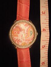 Guess Women Pink Leather Paisley Rhinestones  Wrist Watch