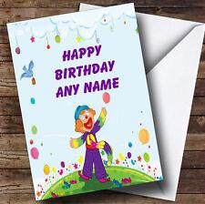 Carino Viola Clown personalizzato compleanno auguri carta