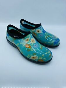 Sloggers Floral Fun Waterproof Garden Shoe Comfort Insole Turquoise US 11M #B-25