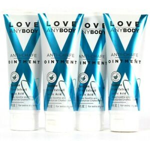4 Count Love AnyBody 4 Oz Anti-Chafe Ointment Squalane Olive Extract Lactic Acid
