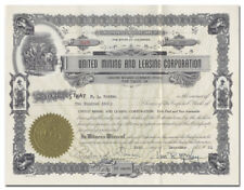 United Mining and Leasing Corporation Stock Certificate (Eureka Gulch, CO)