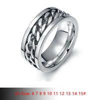 Silver Men Wedding Ring Spinning Chain Spinner Band Stainless Steel US Size 6-15