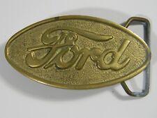 Ford Script Logo Oval Brass Belt Buckle Old Vintage