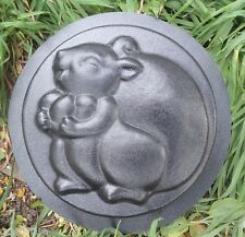 "squirrel stepping stone plastic mold 12"" x 2"" Heavy duty garden mold mould"