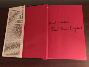 Paul Bear Bryant Autograph Book Alabama Football