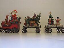 TII Collections Resin Holiday Train 3 Piece Set w/ Santa Snowmen Christmas Tree