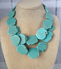 Turquoise necklace double strands stone blue bib statement necklace