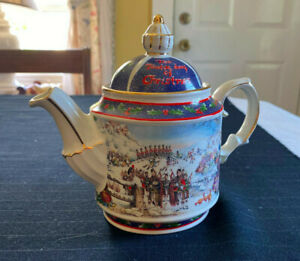 12 Days of Christmas Sadler Teapot, Made in England, Bright Colors and Trim