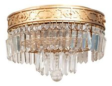 Art Deco Double-Tiered Gilt Brass And Crystal Wedding Cake Flush Mount Light
