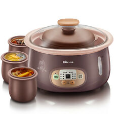 BEAR 2.5L Electric Slow Cooker  purple clay 4 inner pot timer Porridge Stew