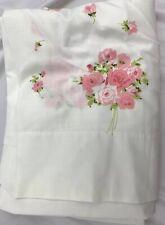 Vintage Burlington House Pink Floral Twin Size Flat Sheet Cottage Shabby Rose