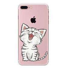 Schutz Hülle iPhone 7 Plus Soft Cover Case Bumper Tasche Motiv Slim TPU Katze