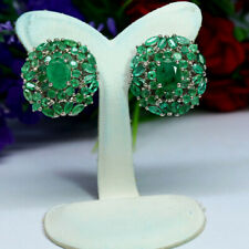 NATURAL GREEN EMERALD EARRINGS 925 STERLING SILVER