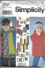 Simplicity Pattern 9930 Size XS, S, M and L.  Child's, Girls' and Boys' Vests