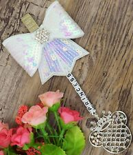 Personalised stunning pram charm in White girls boys sequin Bow