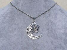 Tibetan Silver Filigree Crescent Moon Butterfly Pendant Necklace .Handmade